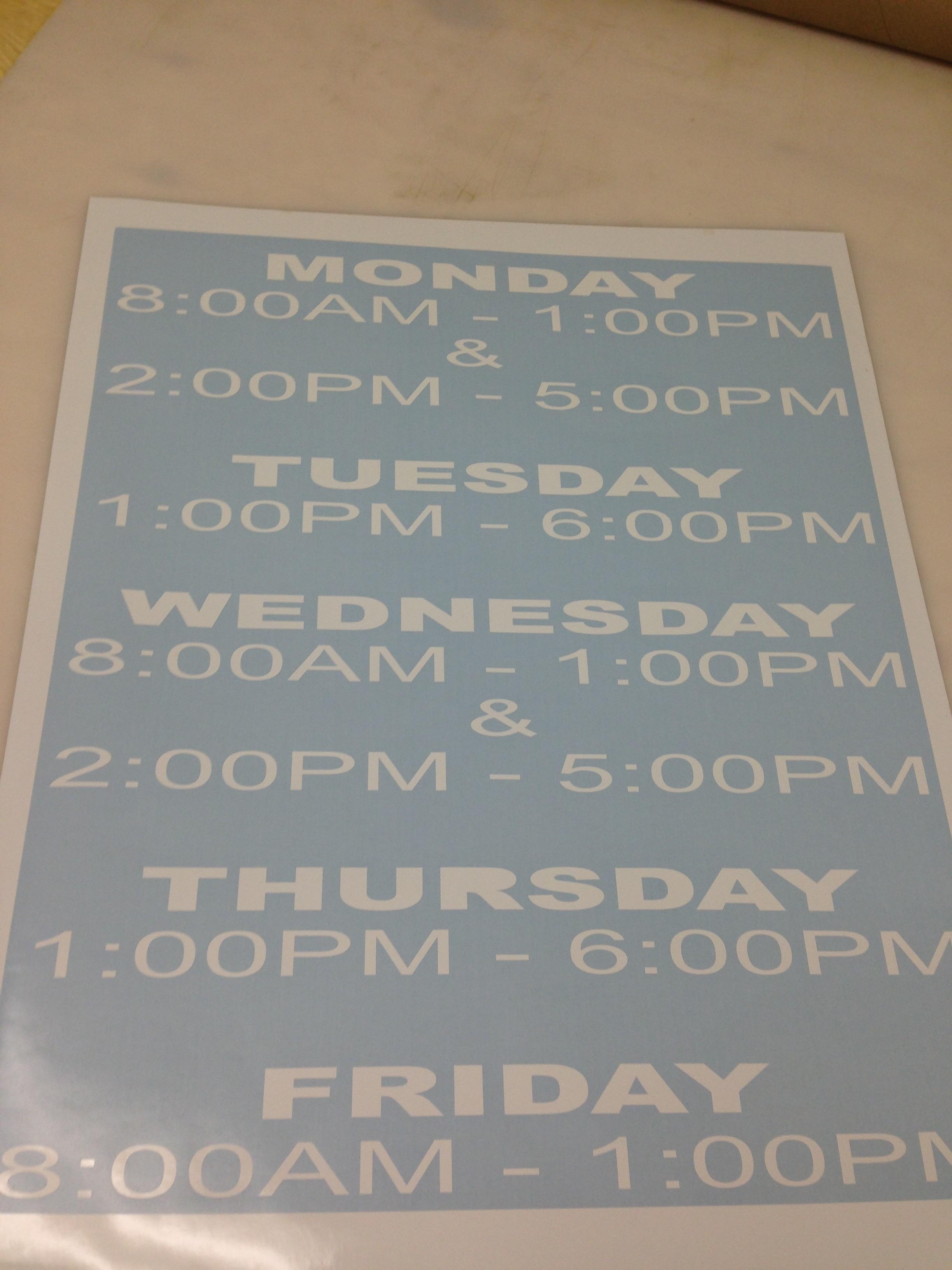 New Vinyl Business Hours for Front Door of Orlando Business